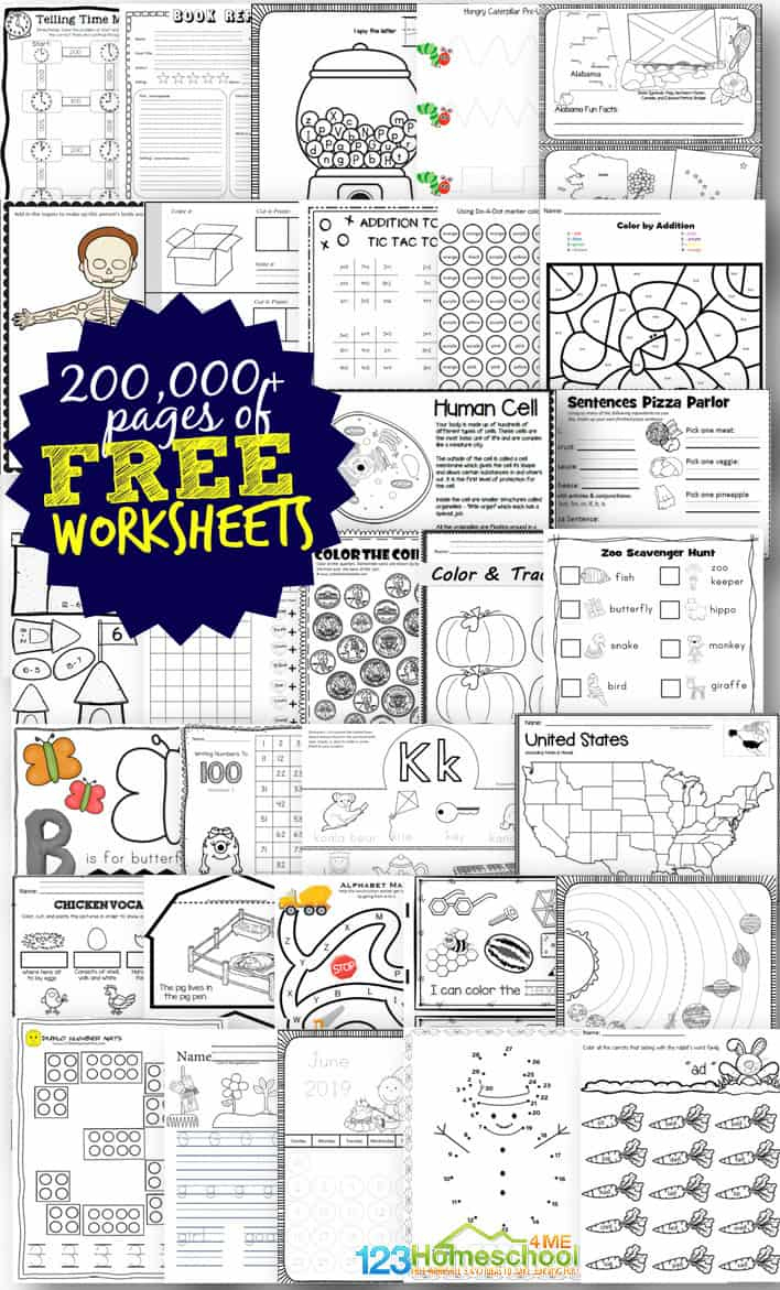 Free Worksheets - 200,000+ For Prek-6Th | 123 Homeschool 4 Me | Printable Worksheets For Head Start