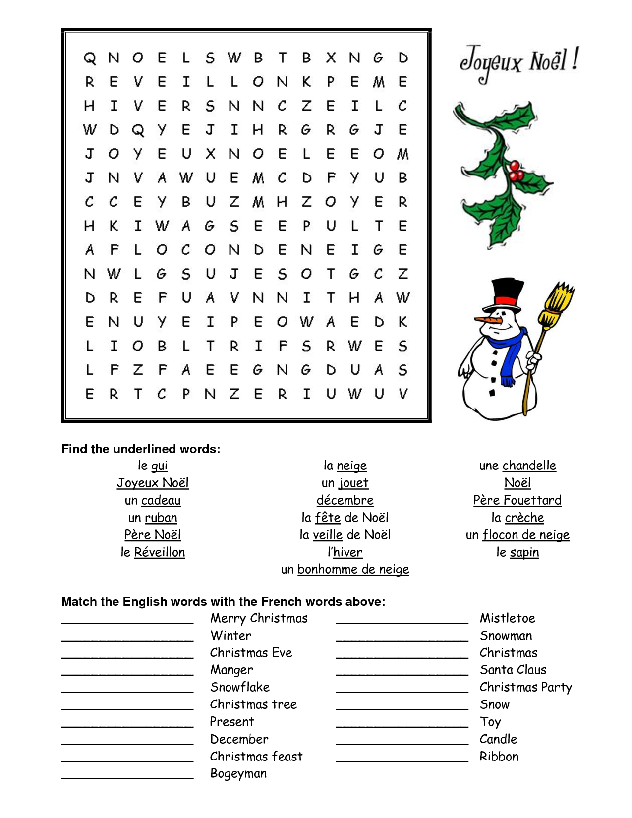 French Christmas Word Search - Google Search | French - Christmas | Free Printable Christmas Worksheets Ks2