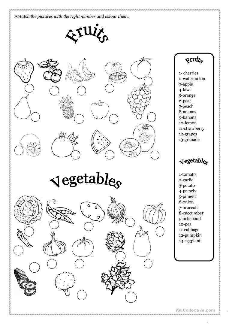 Fruits And Vegetables Worksheet - Free Esl Printable Worksheets Made | Vegetables Worksheets Printables