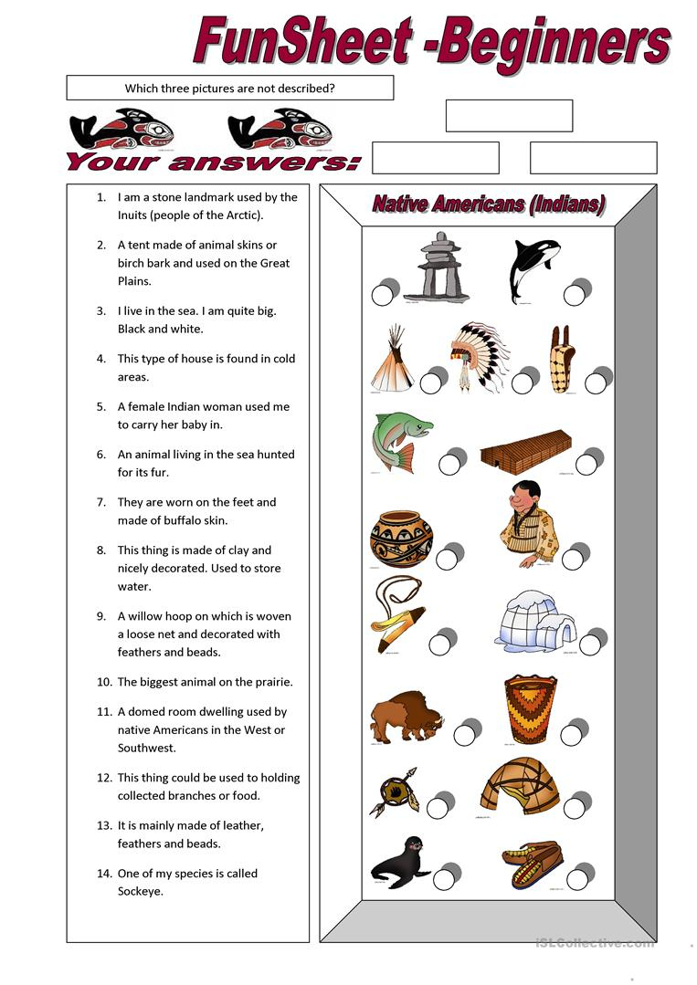Funsheet For Beginners: Native Americans (Indians) Worksheet - Free | Indian In The Cupboard Free Printable Worksheets