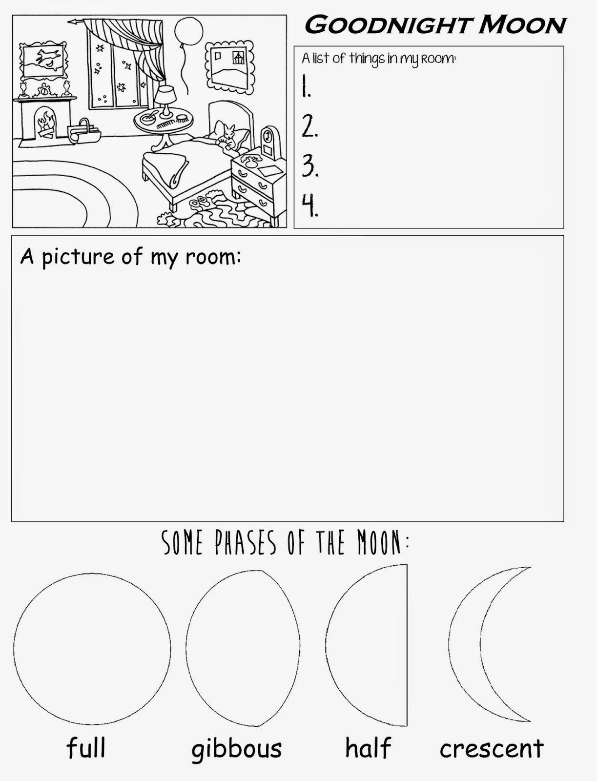 Goodnight Moon Free Printable Worksheet For Preschool Kindergarten   Free Printable Homework Worksheets