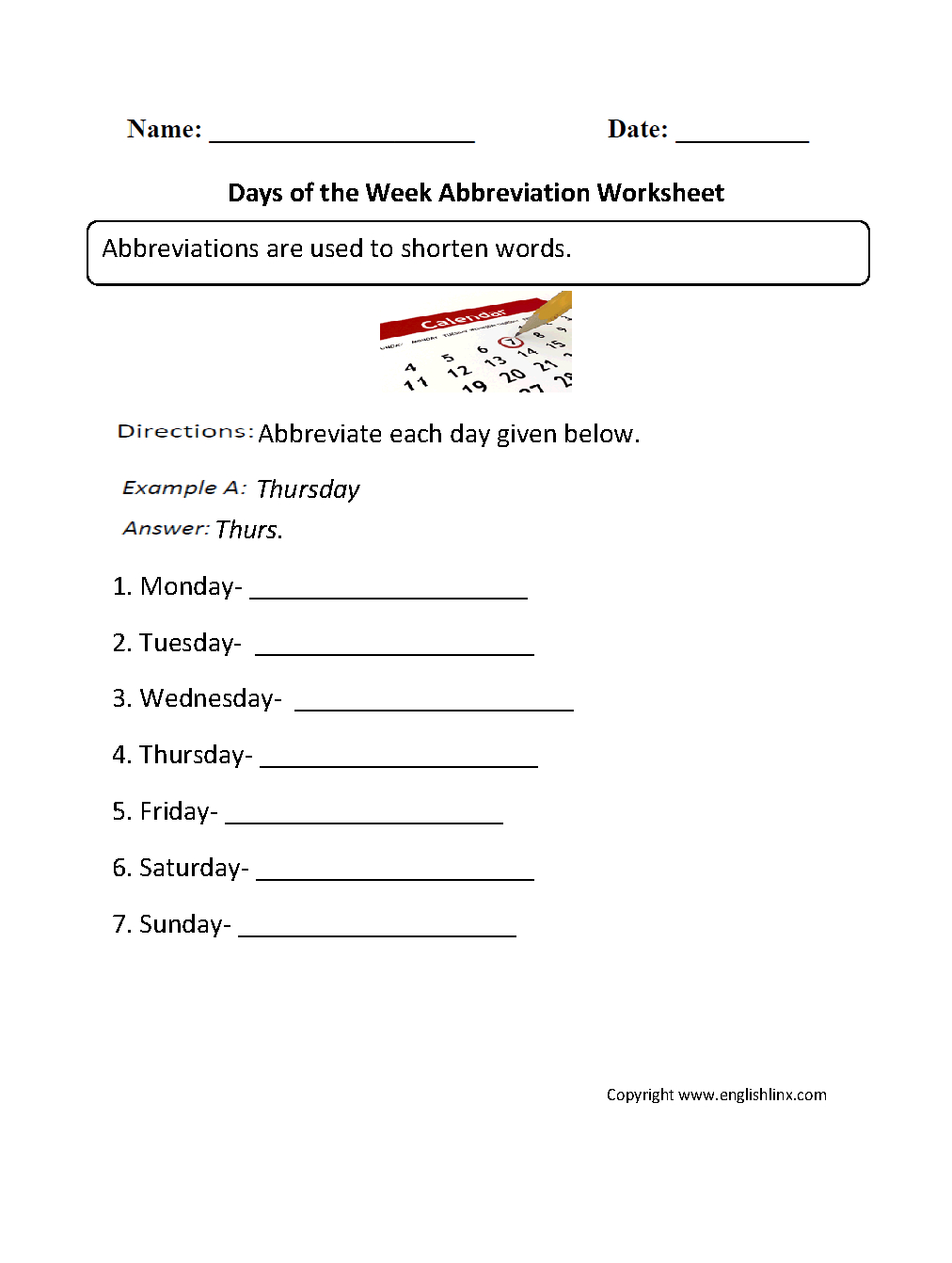 Grammar Mechanics Worksheets | Abbreviation Worksheets | Free Printable Abbreviation Worksheets