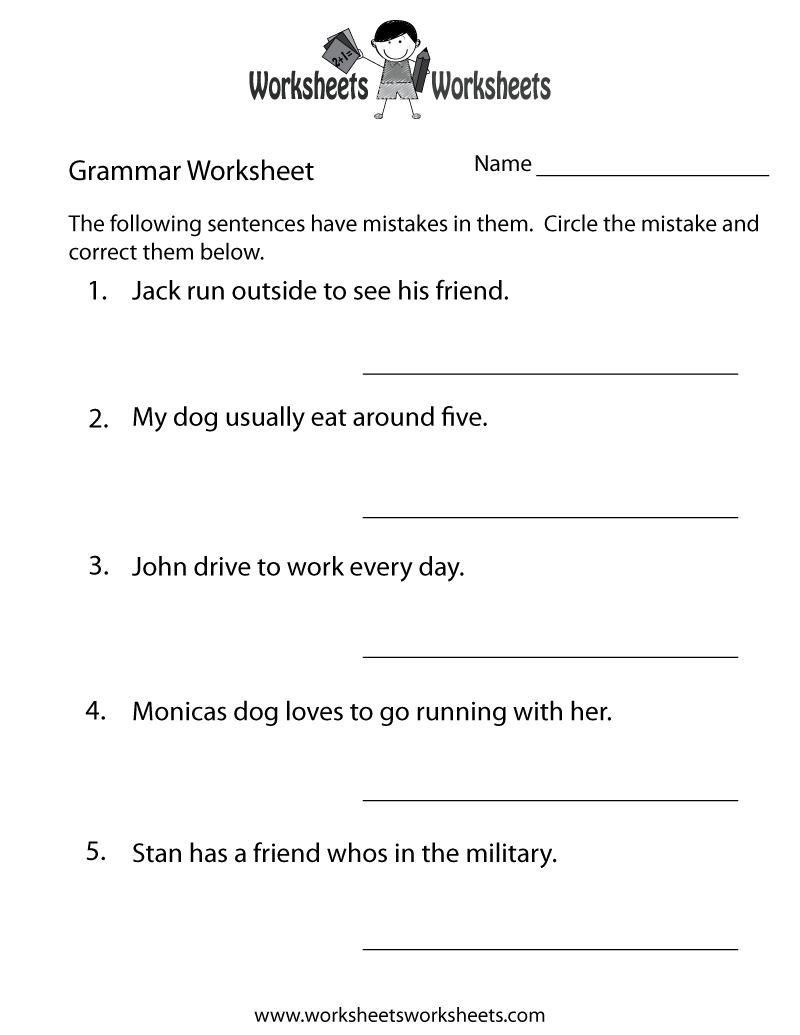 Grammar Practice Worksheet Printable | Grammar Worksheets | Grammar | Printable Grammar Worksheets