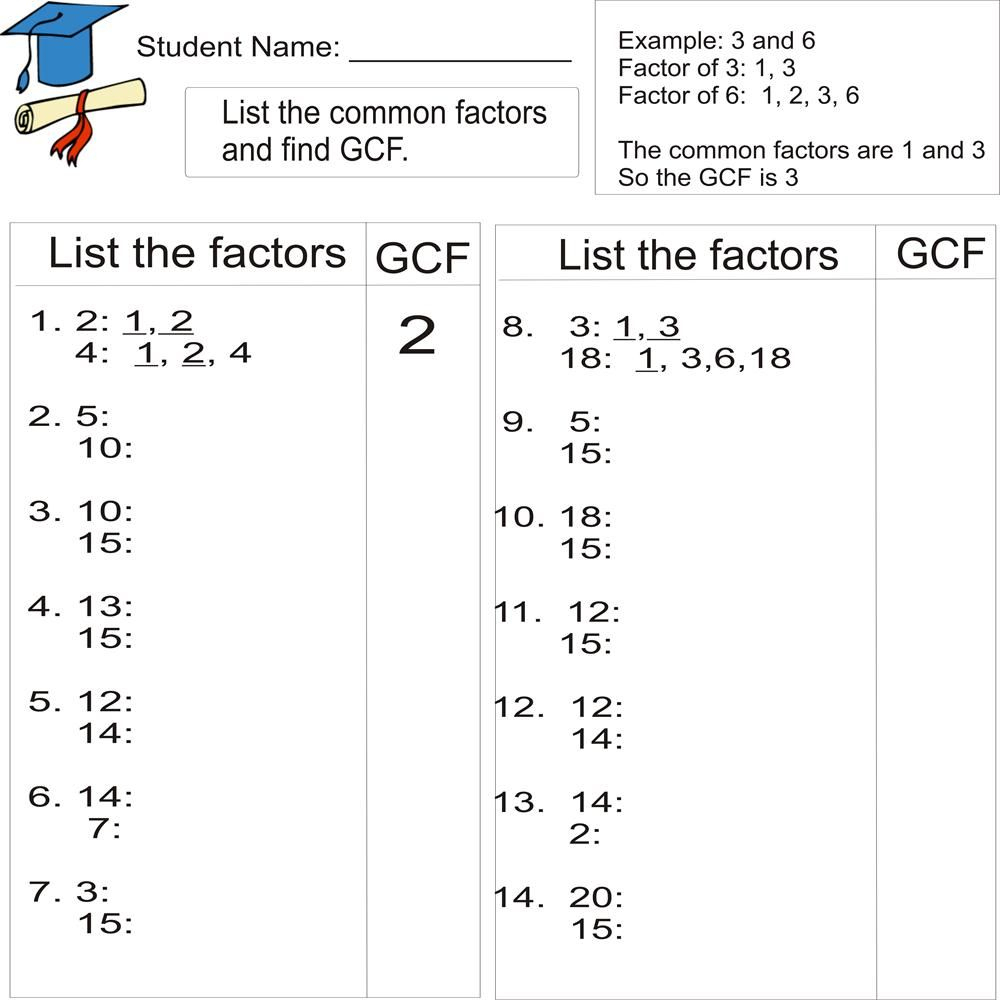Greatest Common Factor 1To 20 (From Study Village Website. . .great | Free Printable Lcm Worksheets