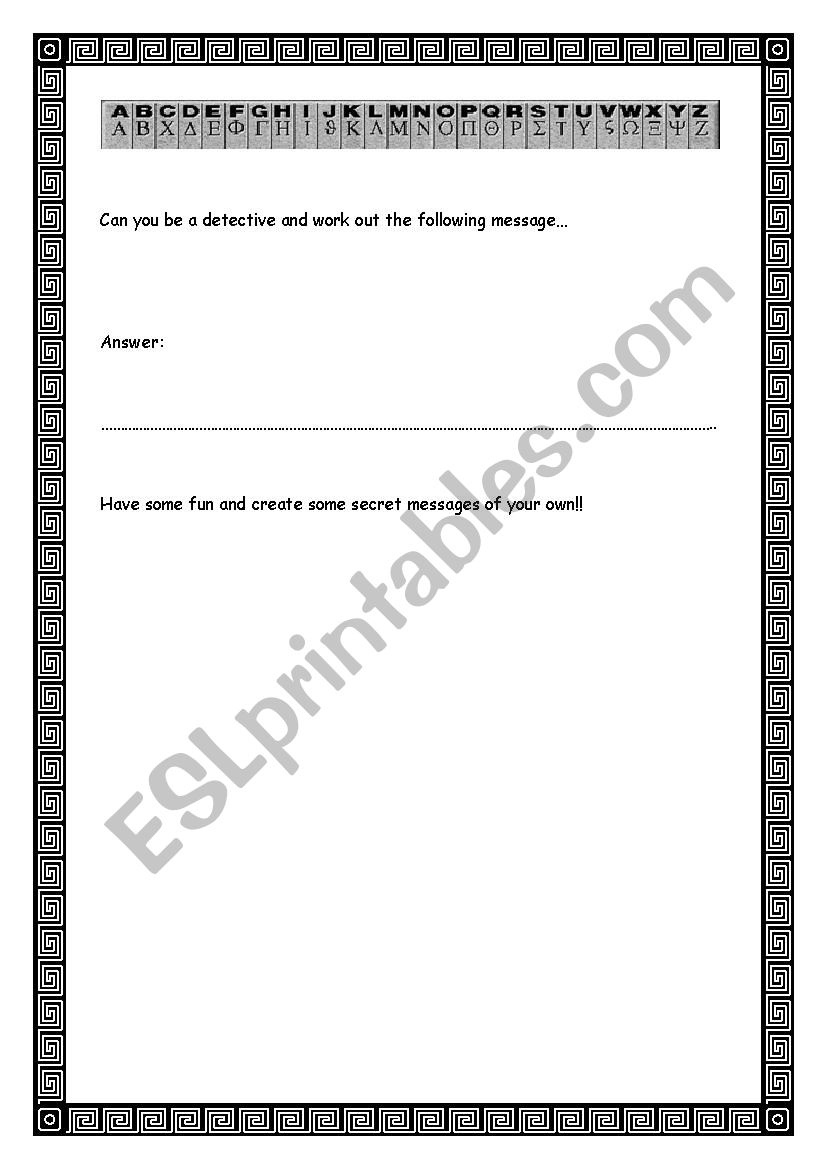 Greek Alphabet - Crack The Code - Esl Worksheetaruddick | Greek Alphabet Printable Worksheets