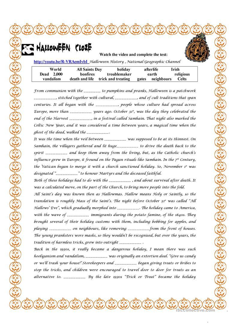 Halloween History Worksheet - Free Esl Printable Worksheets Made | World History Printable Worksheets