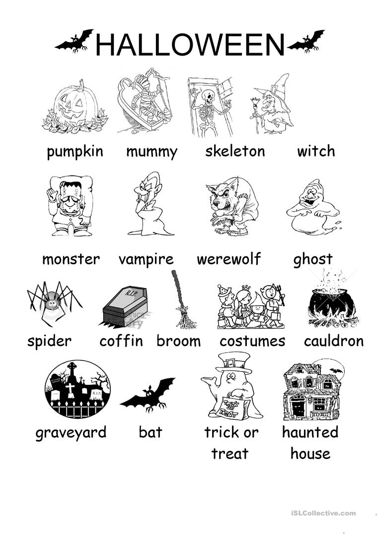 Halloween Vocabulary Printables | Halloween Arts - Free Printable | Free Printable French Halloween Worksheets