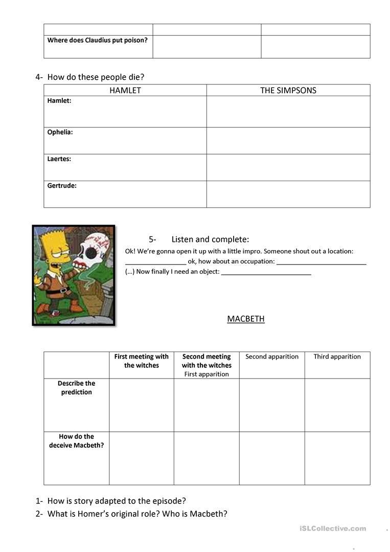 Hamlet And Macbeth Worksheet - Free Esl Printable Worksheets Made   Hamlet Printable Worksheets
