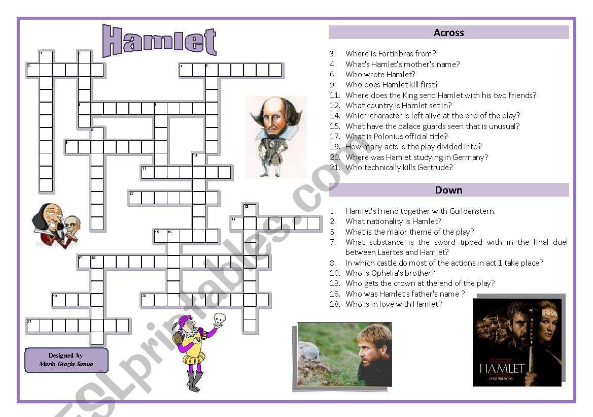 Hamlet - Crossword Puzzle - Esl Worksheetoppilif   Hamlet Printable Worksheets