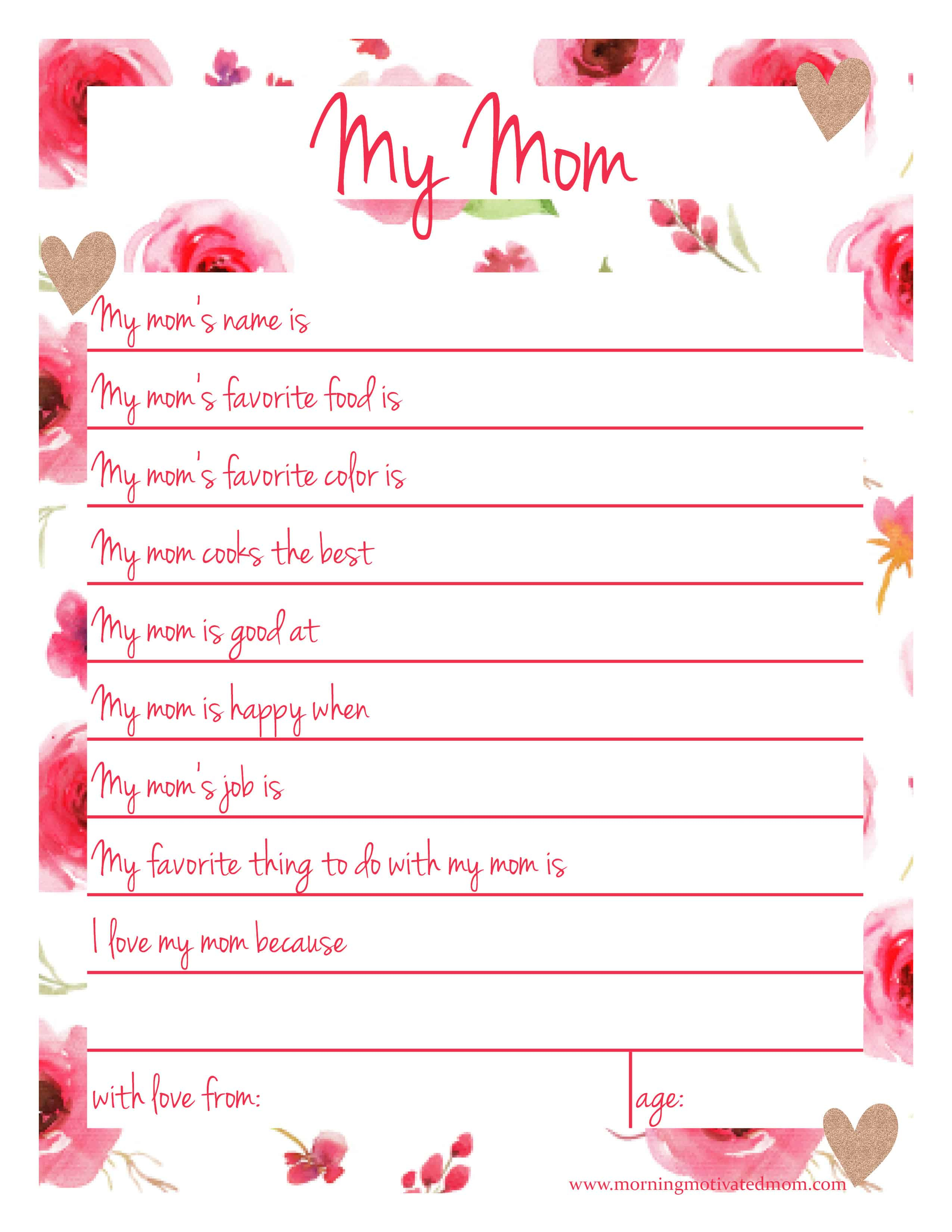 Handmade Gift For Mom - My Mom Printable Page – Morning Motivated Mom | Are You My Mother Printable Worksheets