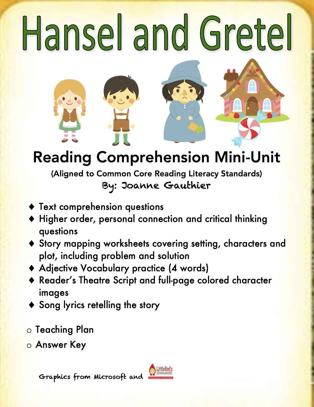 Hansel And Gretel - A Fairy Tale Reading Comprehension Unit | Hansel And Gretel Printable Worksheets