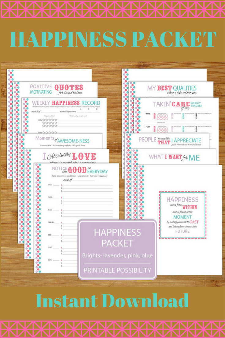 Happiness Worksheet Printables - Brights - 12 Pages - 8.5X11 Inch | Happiness Printable Worksheets