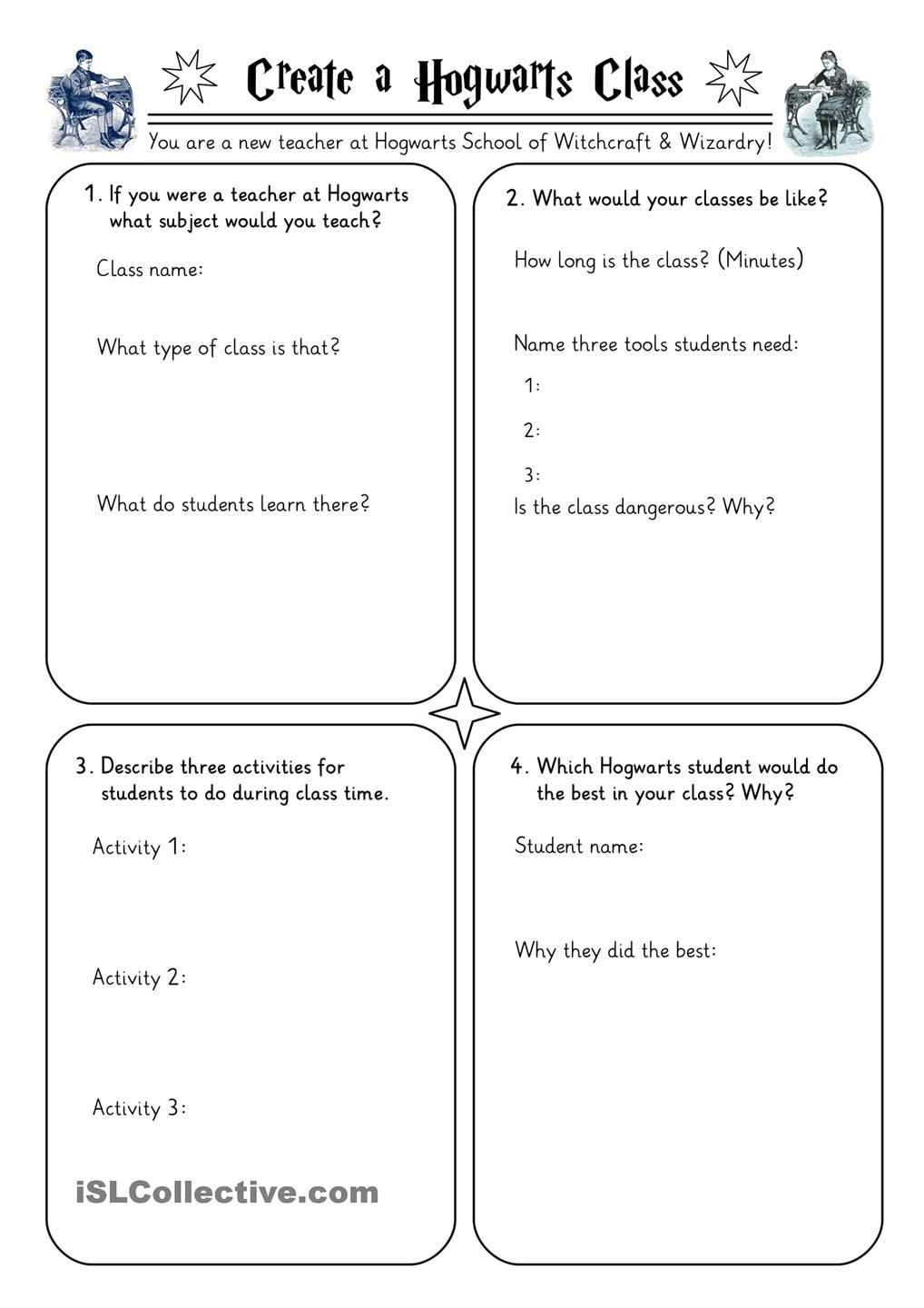 Harry Potter Worksheets Collection | Esl | Harry Potter School | Harry Potter Printable Worksheets