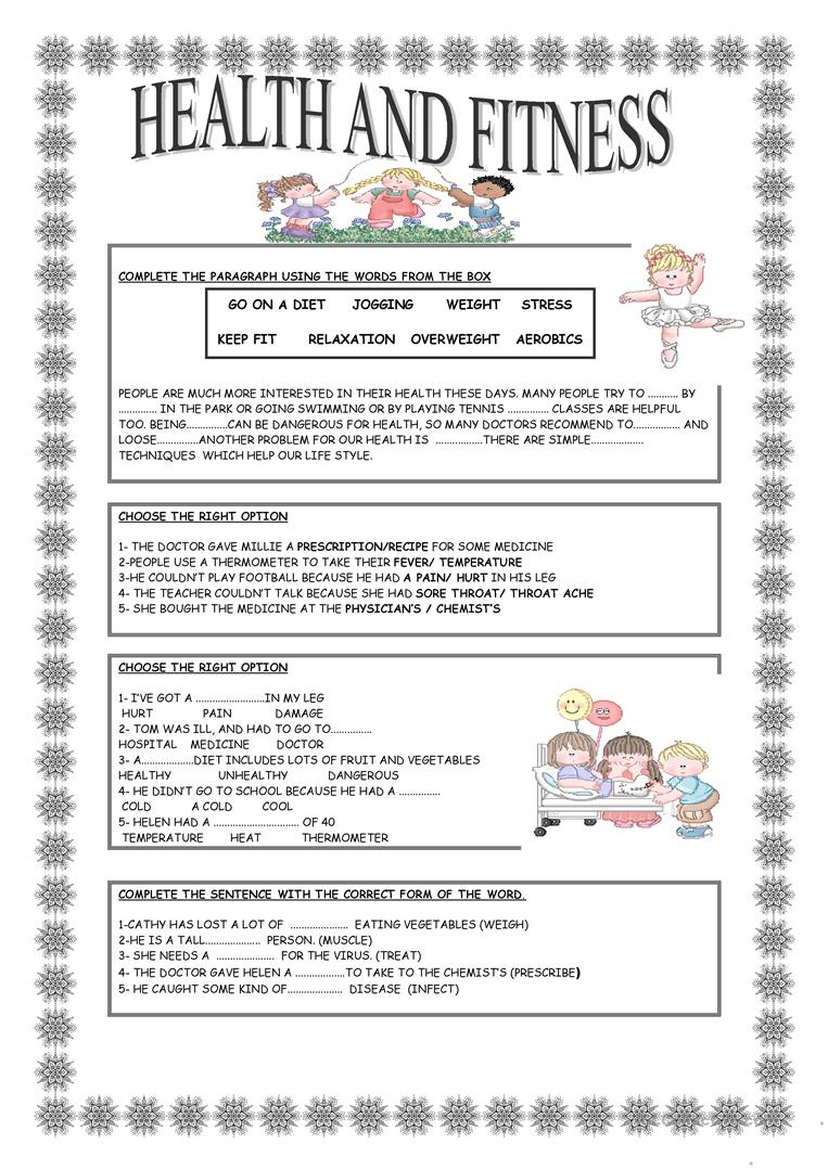 Health And Fitness Worksheet - Free Esl Printable Worksheets Made   Free Printable Fitness Worksheets