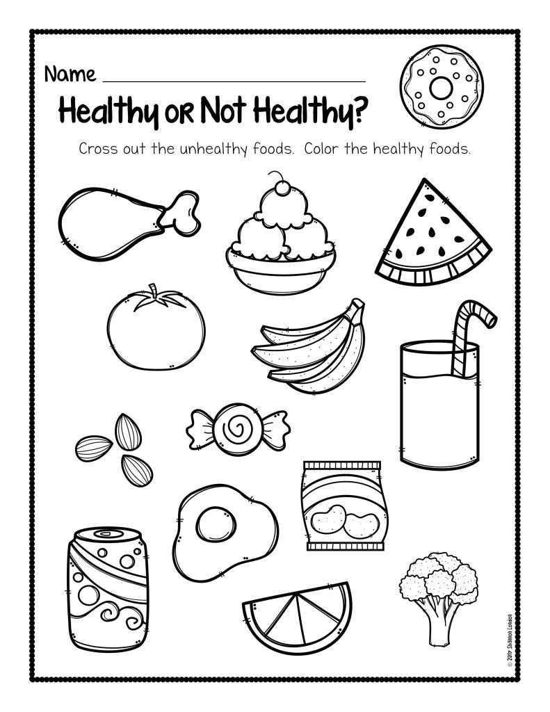 Healthy Or Not Healthy Preschool Worksheet | English Classroom | Free Printable Nutrition Worksheets