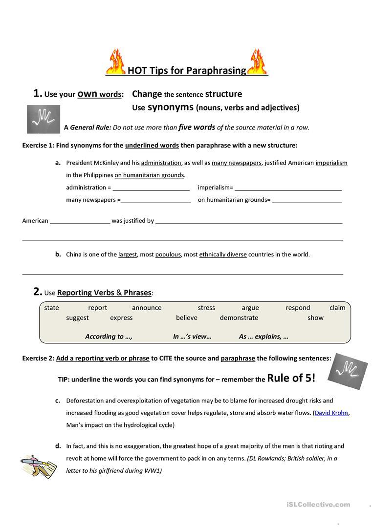 Hot Tips For Paraphrasing Worksheet - Free Esl Printable Worksheets | Printable Paraphrase Practice Worksheet