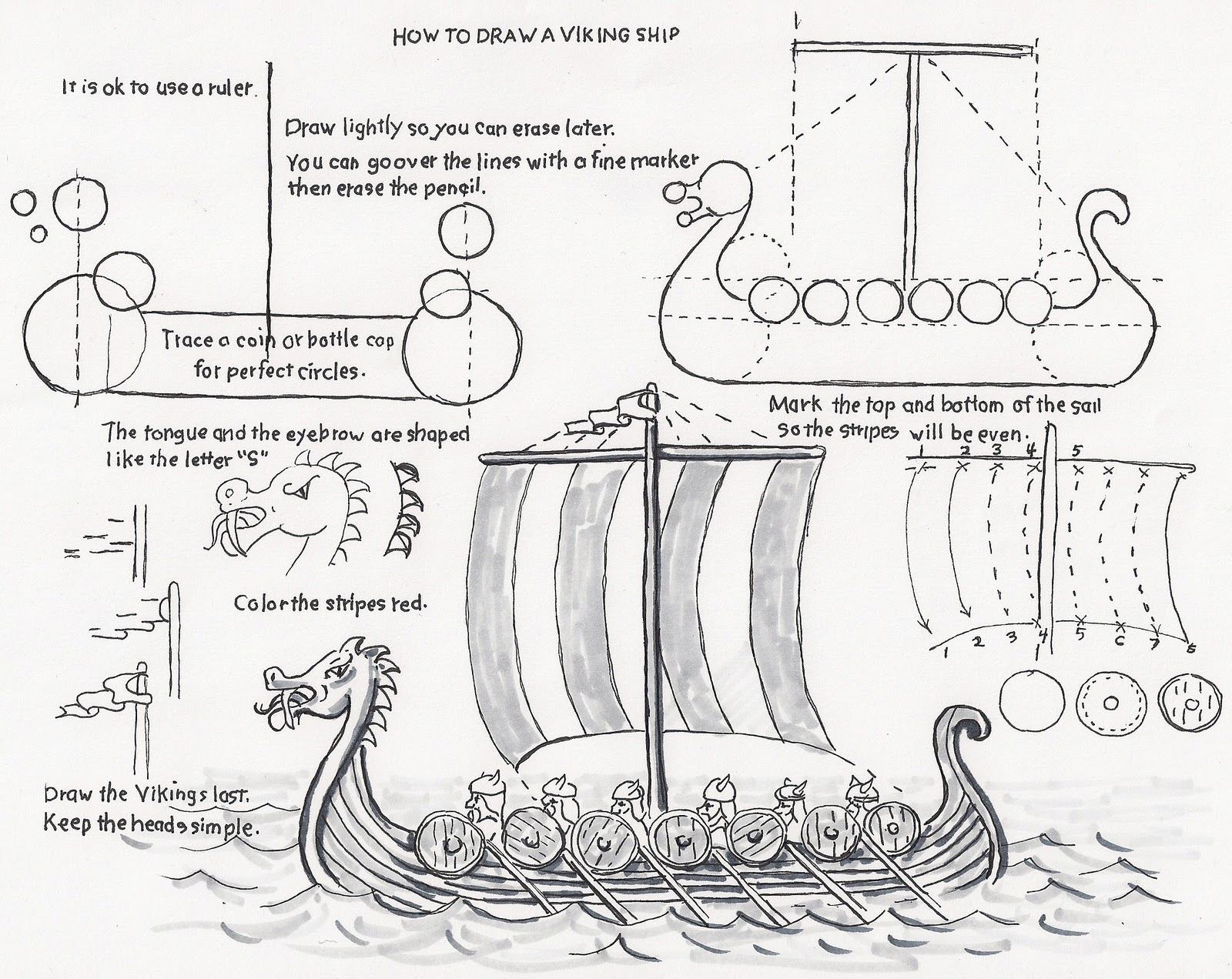 How To Draw Worksheets For The Young Artist: How To Draw A Viking | Viking Worksheets Printable