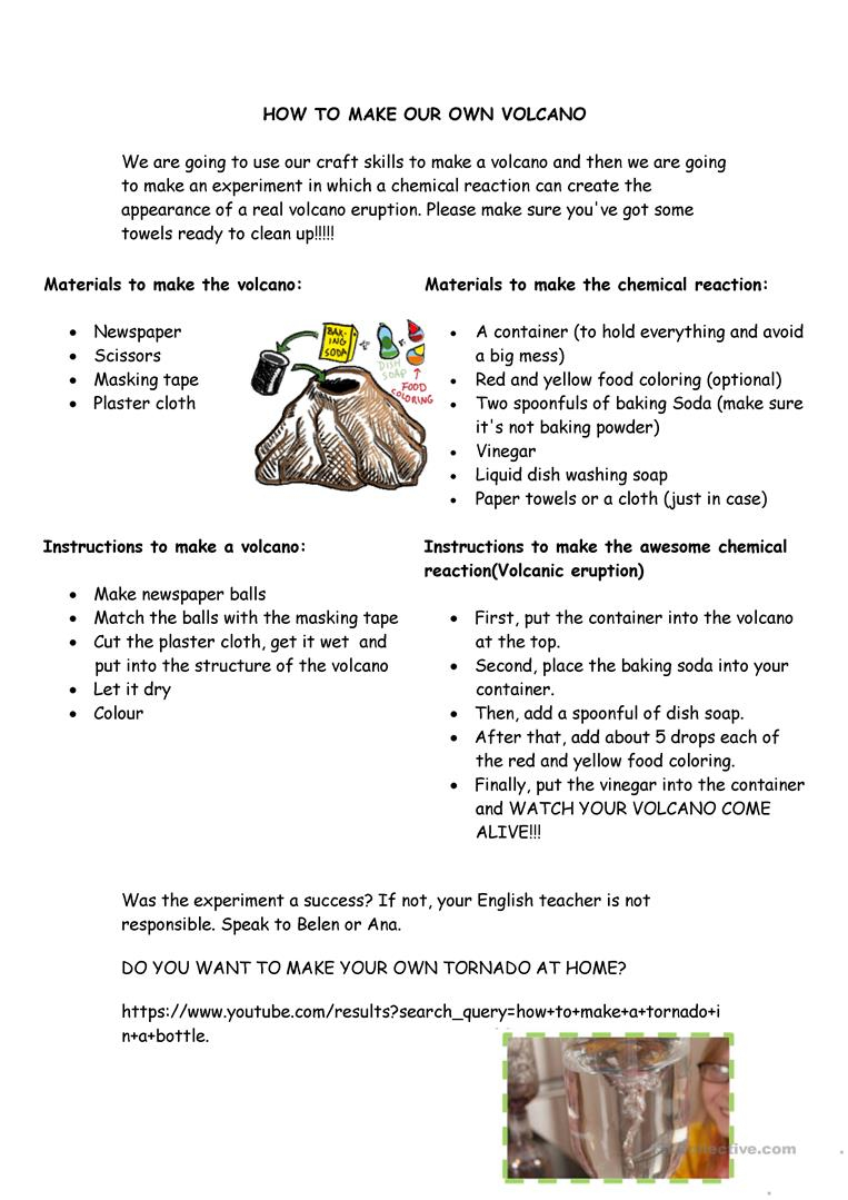 How To Make Your Own Volcano Worksheet - Free Esl Printable   Printable Volcano Worksheets