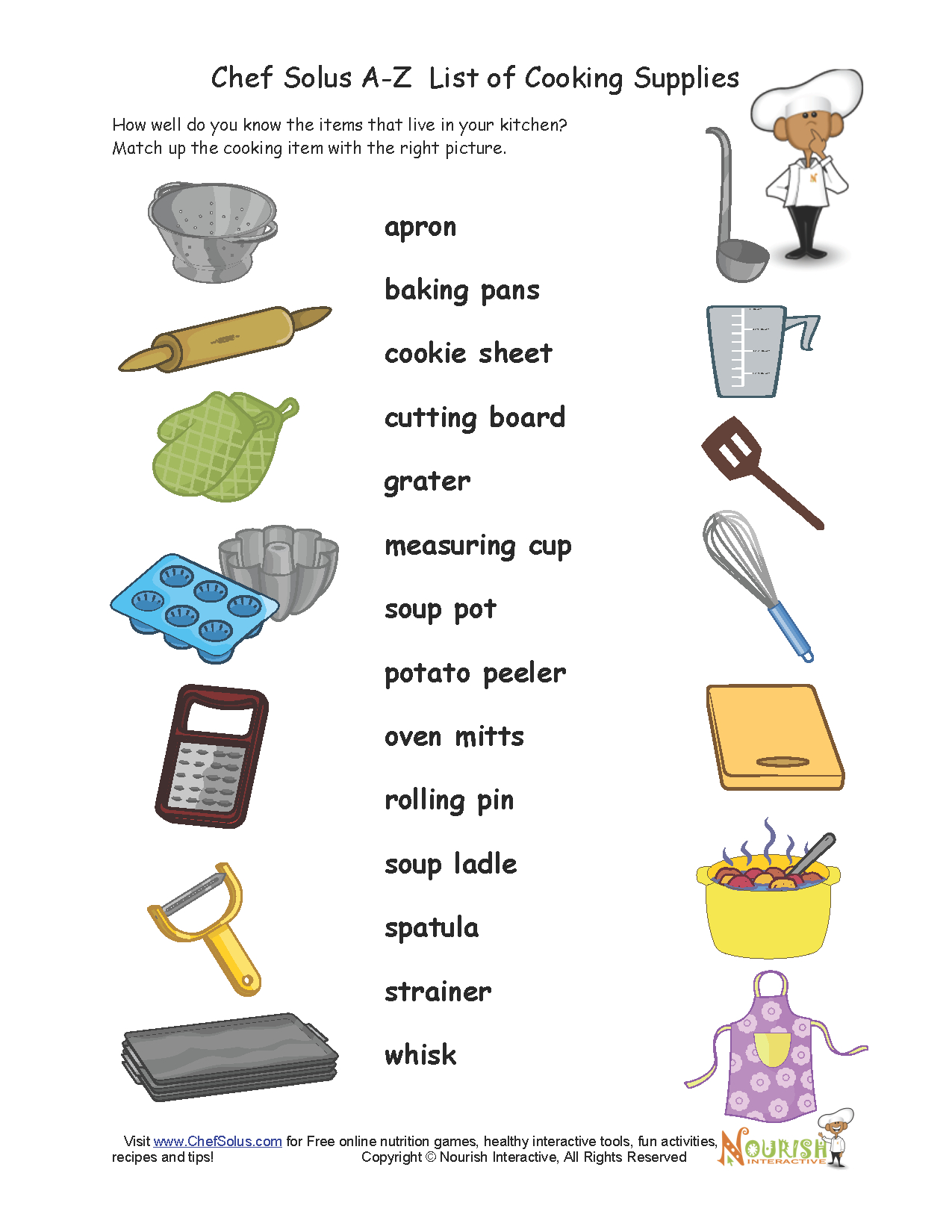 How Well Do Your Little Chefs Know Their Cooking Supplies | Kitchen Utensils Printable Worksheets