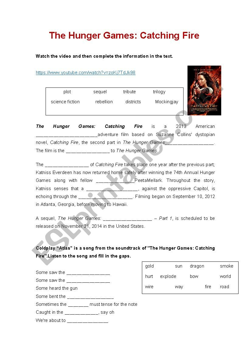 Hunger Games: Catching Fire - Esl Worksheetanabelita | Hunger Games Free Printable Worksheets