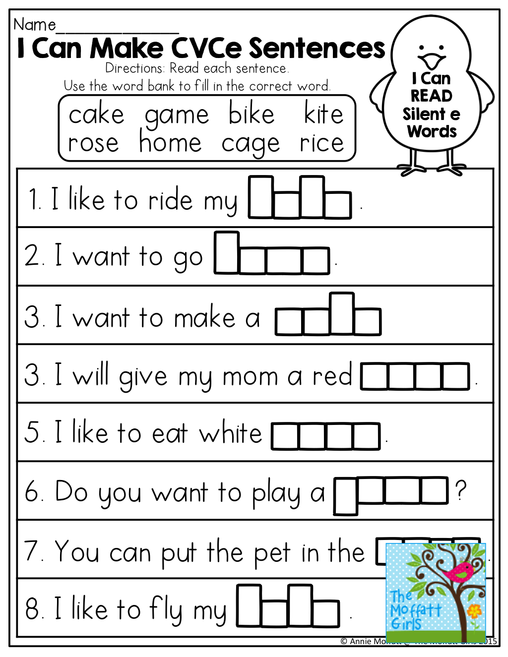 I Can Make Cvce Sentences! Tons Of Great Printables! | Moffatt Girl | Magic E Worksheets Free Printable