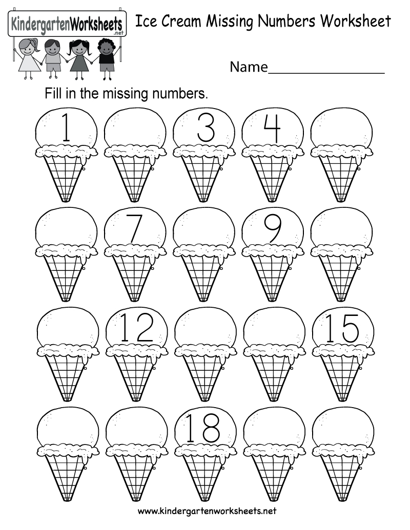 Ice Cream Missing Numbers 1-20 Worksheet For Kindergarten (Free | Counting Worksheets 1 20 Printable