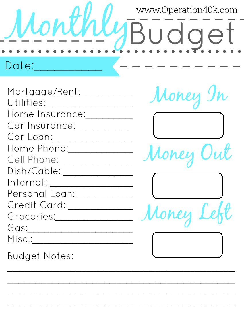 Impressive Simple Budget Template Printable Ideas Weekly Form | Simple Budget Worksheet Printable