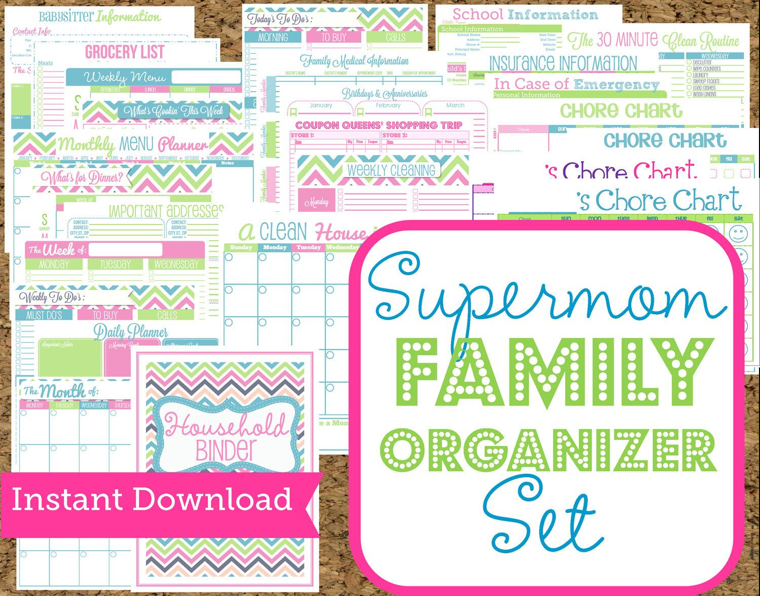 Instant Download Mom Planners- Home Organization Printables-30 | Free Printable Home Organization Worksheets