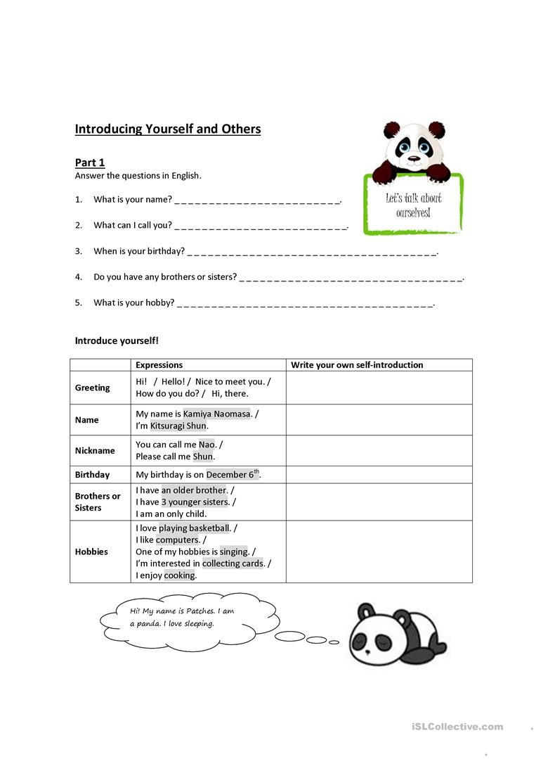 Introducing Yourself And Others Worksheet - Free Esl Printable | Introduce Yourself Printable Worksheets