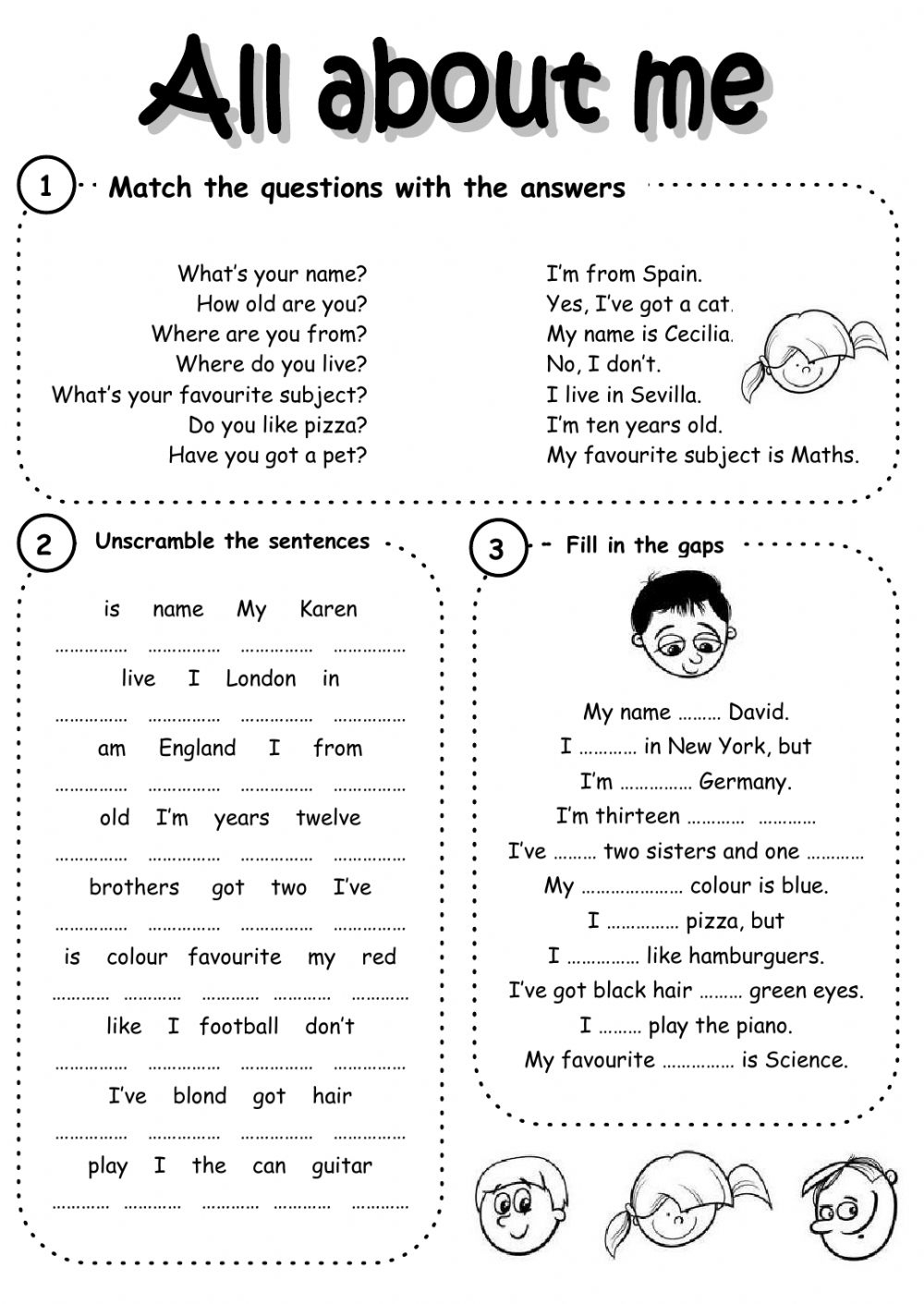 Introducing Yourself Interactive Worksheets | Introduce Yourself Printable Worksheets
