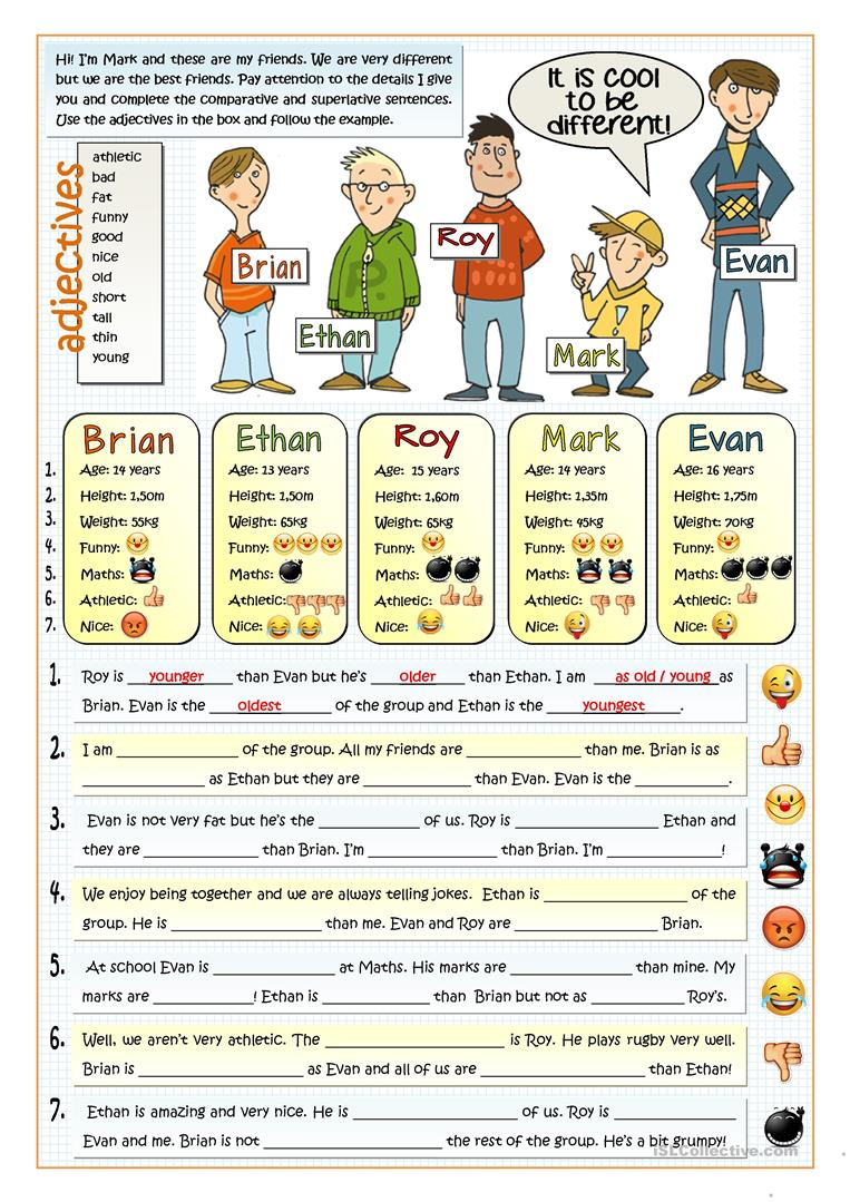 It's Cool To Be Different - Comparative Worksheet - Free Esl | Comparative Worksheets Printable