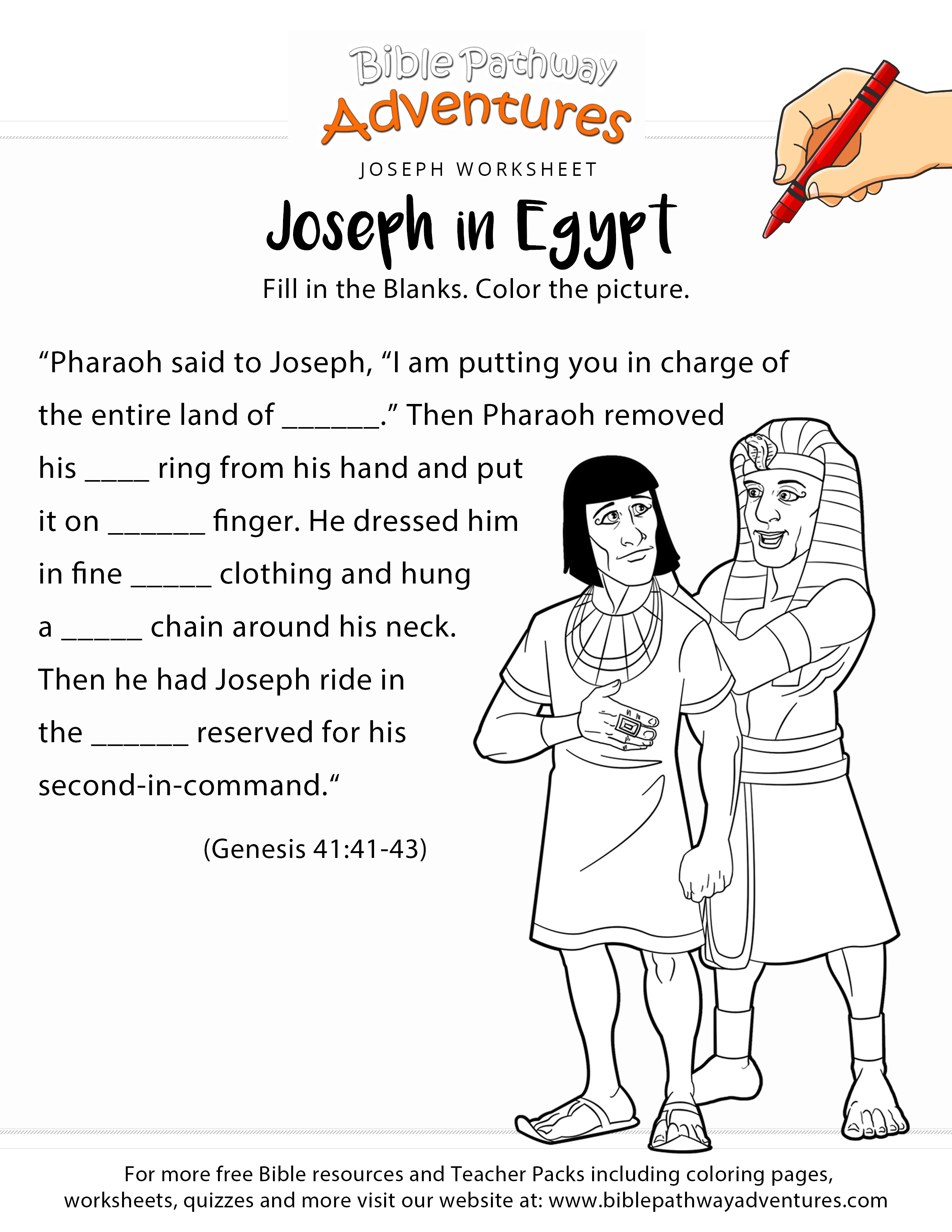 Joseph In Egypt Worksheet And Coloring Page | Sunday School | Free Printable Children's Bible Lessons Worksheets