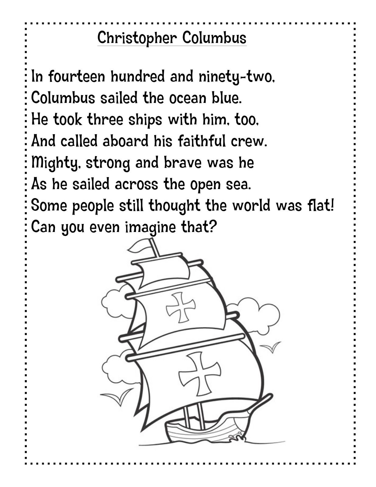 Just 4 Teachers: Sharing Across Borders: Unit 5 Week 3 Columbus | Christopher Columbus Printable Worksheets