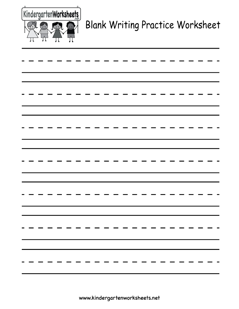Kindergarten Blank Writing Practice Worksheet Printable | Writing | Printable Handwriting Worksheets For Kindergarten
