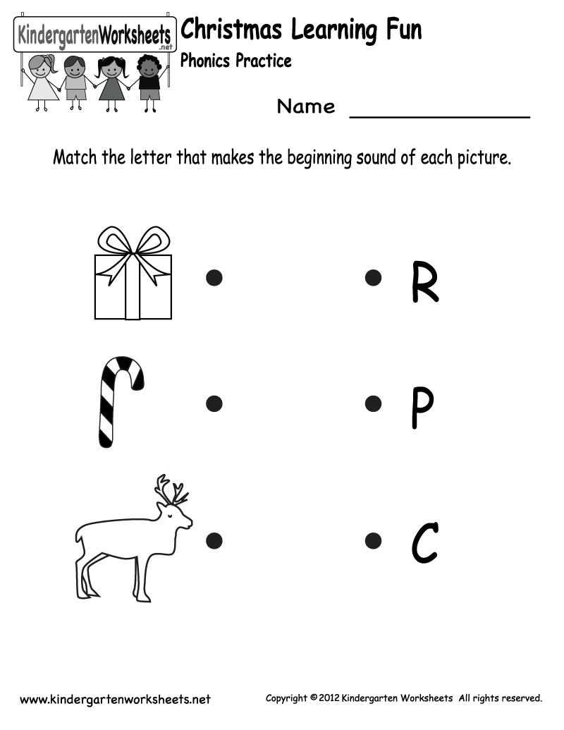 Kindergarten Christmas Phonics Worksheet Printable | Jax School | Christmas Worksheets Printables For Kindergarten