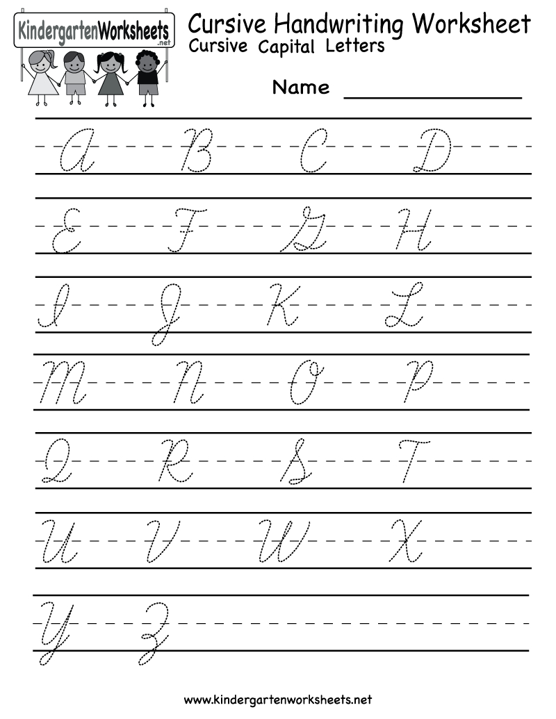 Kindergarten Cursive Handwriting Worksheet Printable | School And | Cursive Writing Worksheets Printable Capital Letters