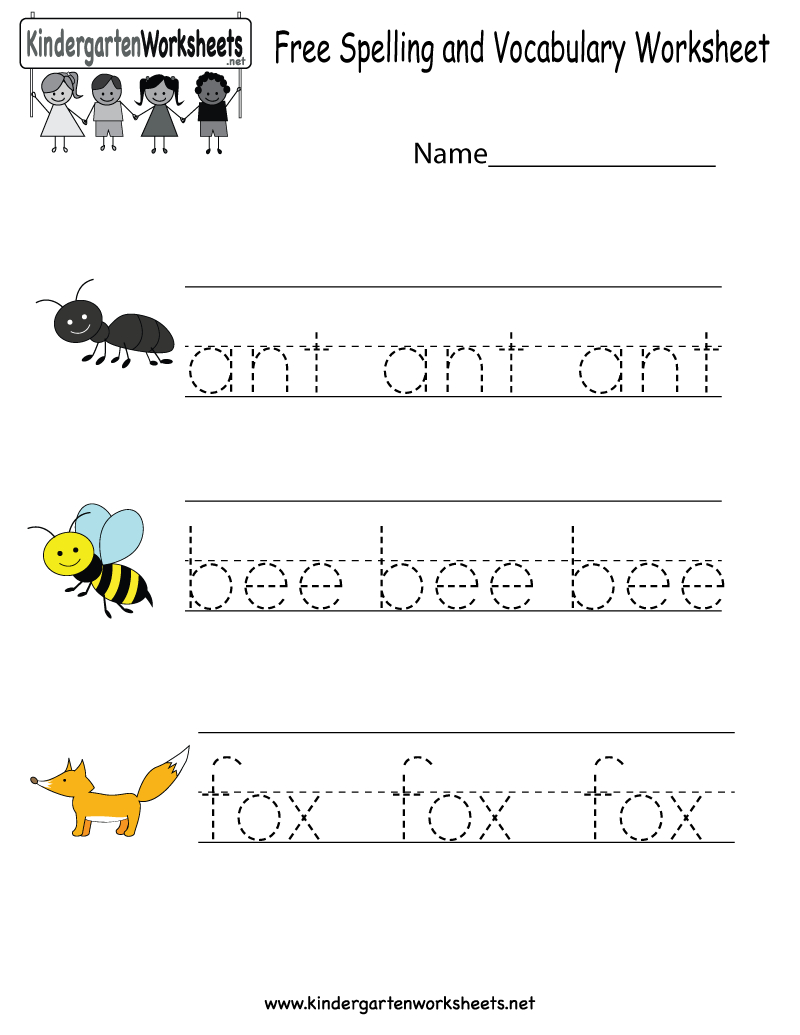 Kindergarten Free Spelling And Vocabulary Worksheet Printable | Kids | Spelling For Kids Worksheets Printable