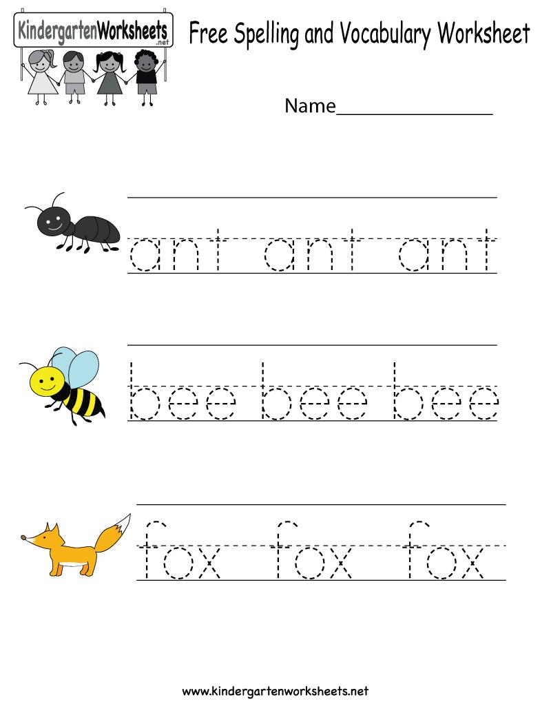 Kindergarten Free Spelling And Vocabulary Worksheet Printable | Printable Spelling Worksheets For Kindergarten