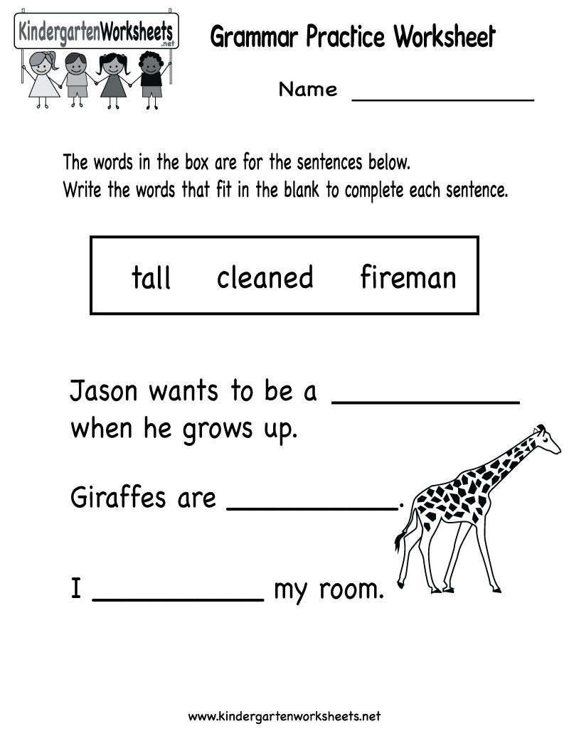 Kindergarten Grammar Practice Worksheet Printable | Worksheets | Kindergarten Ela Printable Worksheets