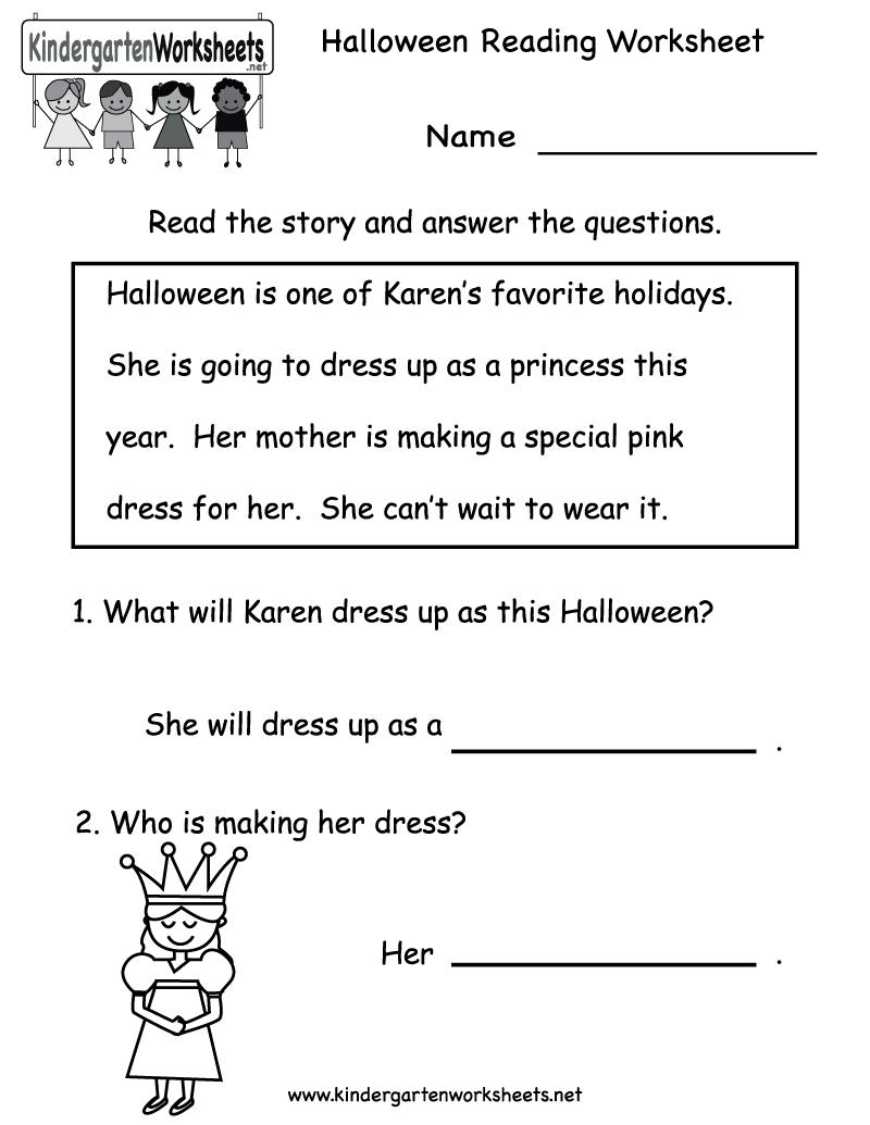 Kindergarten Halloween Reading Worksheet Printable | Free Halloween | Beginning Reading Worksheets Printable