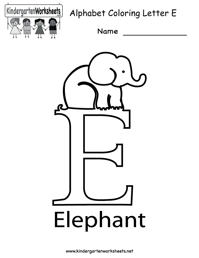 Kindergarten Letter E Coloring Worksheet Printable | Worksheets | Printable Letter E Worksheets For Preschool