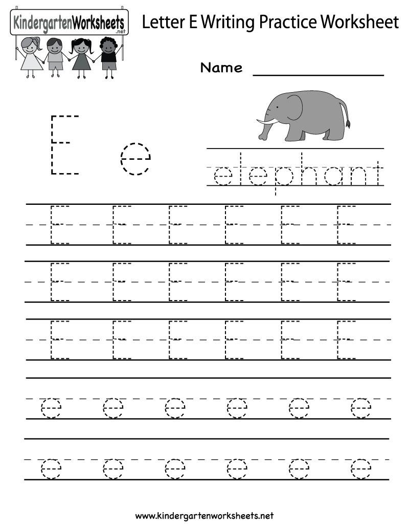 Kindergarten Letter E Writing Practice Worksheet Printable | Letter E Free Printable Worksheets
