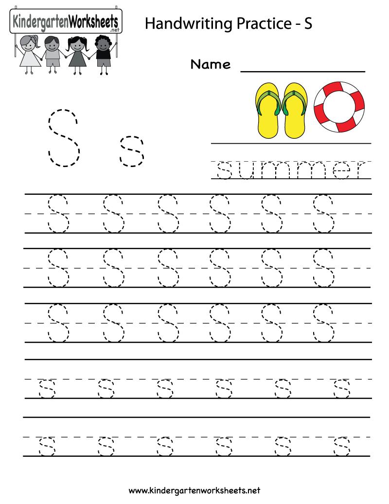 Kindergarten Letter S Writing Practice Worksheet Printable   G   Free Printable Writing Worksheets