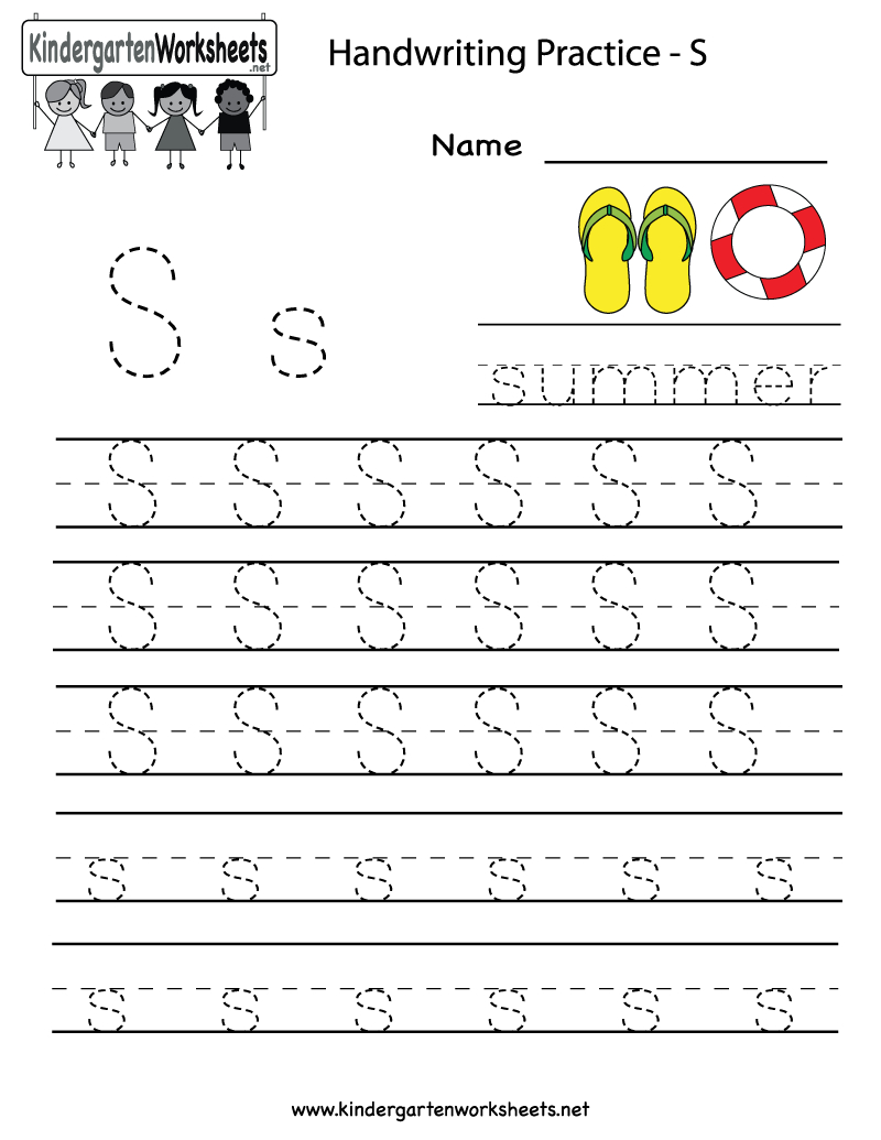 Kindergarten Letter S Writing Practice Worksheet Printable | G | Kindergarten Worksheets Printable Writing