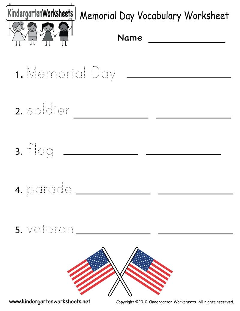 Kindergarten Memorial Day Vocabulary Worksheet Printable | Memorial Day Free Printable Worksheets