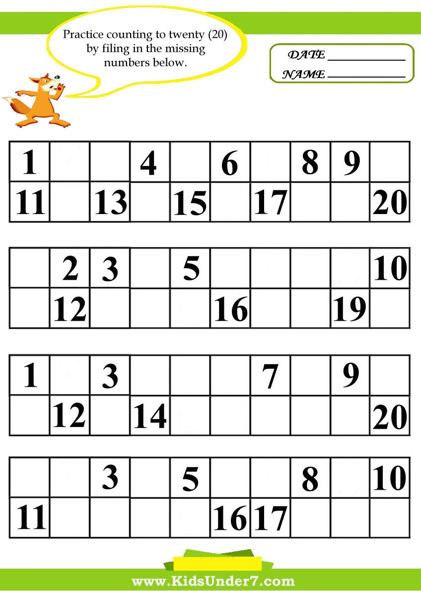 Kindergarten Missing Number Worksheet 1-20 | Missing Number | Counting Worksheets 1 20 Printable