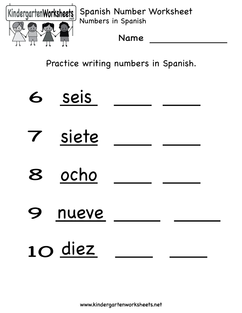 Kindergarten Spanish Number Worksheet Printable | Teaching Spanish | Bilingual Worksheets Printable