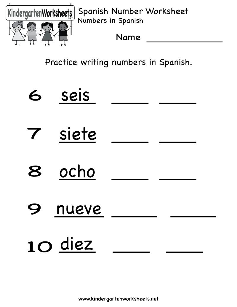 Kindergarten Spanish Number Worksheet Printable | Teaching Spanish | Printable Spanish Worksheets