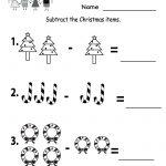 Kindergarten Worksheets Printable |  Subtraction Worksheet   Free | Free Printable Christmas Math Worksheets Kindergarten