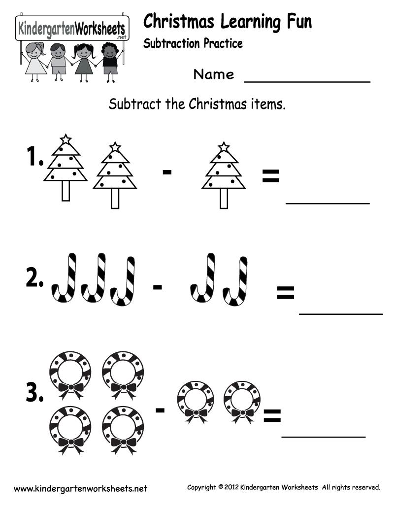 Kindergarten Worksheets Printable |  Subtraction Worksheet - Free | Free Printable Christmas Math Worksheets Kindergarten